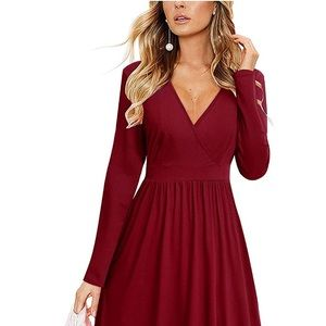 Dresses & Skirts - Long Sleeve V-Neck Wrap Party Dress with Pockets